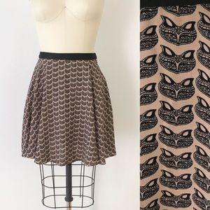 Anthropologie Fox Print Skater Skirt 4P Fall T855